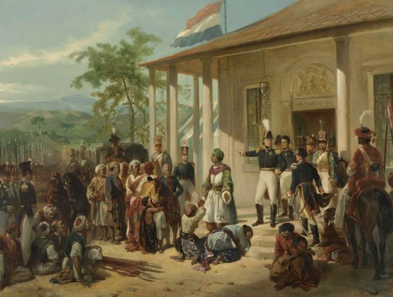 Dipinto della resa dei rivoltosi all'esercito olandese, sull'isola di Giava - Il Tecomanthe